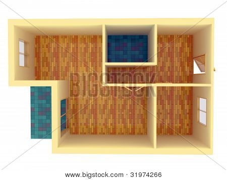 Top View Of Small Apartment With Walls