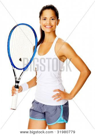 Healthy happy confident woman with a wristband poses with a tennis racket