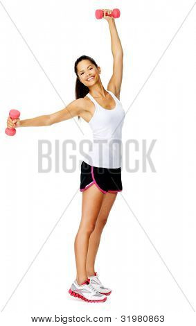 Healthy active mixed race female raises weights above her head for toning exercises isolated on white