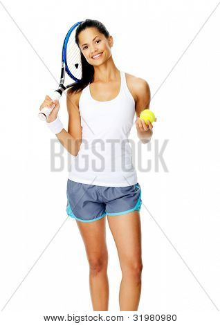 Healthy happy smiling hispanic woman with a wristband poses with a tennis racket and ball