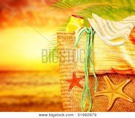 Sunset on the beach, summertime holidays nature background, concept image of vacation and travel, beach items outdoor, paradise island for relaxing getaway, natural spa resort, fun lifestyle