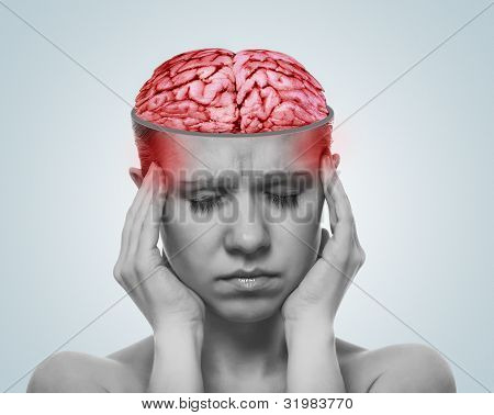 Concept Of A Headache. Open The Skull And Inflamed Brain Of Woman With Pain
