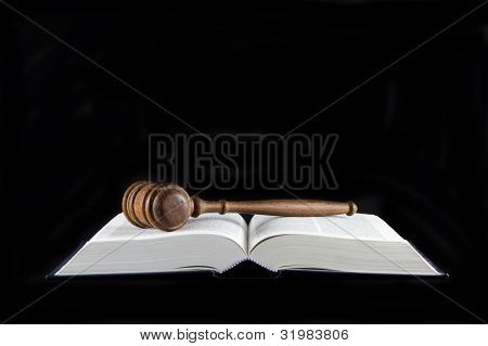 Legal Text Book and Gavel