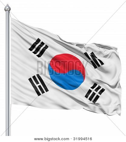 Waving Flag of South Korea
