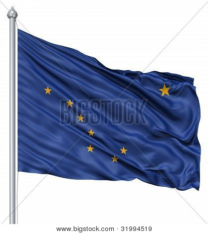 Waving Flag of USA state Alaska