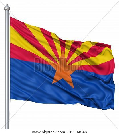 Waving Flag of USA state Arizona