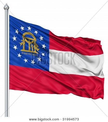 Waving Flag of USA state Georgia