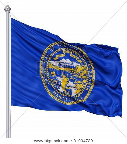 Waving Flag of USA state Nebraska