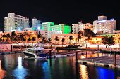 Miami south beach street view with water reflections at night