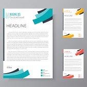 Letterhead Design Template And Mockup Minimalist Style Vector Bundle. Set Design For Business Or Let poster