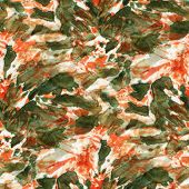 Seamless Tie-dye Pattern Of  Orange And Green Color On White Silk. Hand Painting Fabrics - Nodular B poster