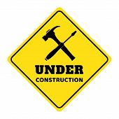 Under Construction Road Sign,under Construction Icon,under Construction Road Sign On Yellow Backgrou poster