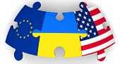 Cooperation Of The Ukraine, The European Union And The United States Of America. Puzzles With Flags  poster