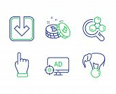 Seo Adblock, Bitcoin And Chemistry Lab Line Icons Set. Load Document, Click Hand And Elephant On Bal poster