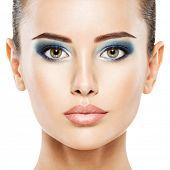 Face Make-up Fashion Woman Beauty. Glamour fashion bright blue eye make-up. poster