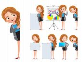 Business Woman Character Vector Set. Female Businesswoman Characters Holding Whiteboard And Showing  poster