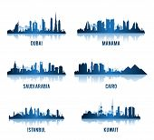 Set Of Cities In Middle East Famous Buildings. Editable Vector Illustration poster