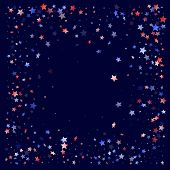 American Memorial Day Stars Background. Holiday Confetti In Us Flag Colors For Patriot Day. Festive  poster