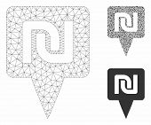 Mesh Shekel Map Pointer Model With Triangle Mosaic Icon. Wire Carcass Polygonal Mesh Of Shekel Map P poster