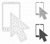 Mesh Smartphone Arrow Pointer Model With Triangle Mosaic Icon. Wire Frame Triangular Network Of Smar poster