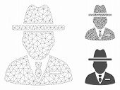 Mesh Spy Person Model With Triangle Mosaic Icon. Wire Frame Triangular Mesh Of Spy Person. Vector Mo poster