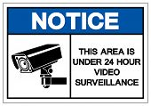 Notice This Area Is Under 24 Hour Video Surveillance Symbol Sign, Vector Illustration, Isolate On Wh poster