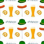 Illustration On Theme Big Colored Pattern Oktoberfest, German Holiday It Fest Pretzel. Pattern Consi poster