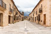 Typical Street In The Historical Town Of Pedraza. Segovia. Spain. poster