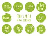 Vector Organic Labels, Natural Ingredients Emblems, Sugar Free Icon For Natural Products Packaging.  poster