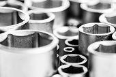 Metallic Background. Socket Wrench. Perfect Tool Kit. Chrome Vanadium Steel. Metallized Fix Equipmen poster