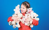 Happy Childhood. Little Girl Play With Soft Toy Teddy Bear. Lot Of Toys In Her Hands. Childhood Conc poster