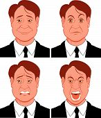stock photo of sad man  - Vector illustration Character showing different emotions  - JPG