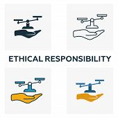 Ethical Responsibility Icon Set. Four Elements In Diferent Styles From Business Ethics Icons Collect poster