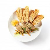 Chicken liver pate with crunchy baguette and fruit jelly sauce isolated on white background. Delicio poster