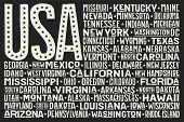Poster Of United States Of America Flag With States And Capital Cities. Print For T-shirt Of Usa Fla poster