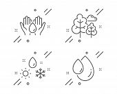 Safe Water, Weather And Tree Line Icons Set. Oil Drop Sign. Hold Drop, Climate, Forest Plants. Serum poster