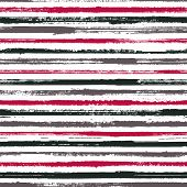 Hand Painted Stripes Clothes Seamless Vector Pattern. Ink Paint Lines Textured Background. Grunge Br poster