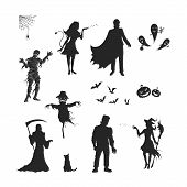 Black Silhouettes Of Halloween Characters. Isolated Image Of Vampire, Witch, Mummy And Ghost. Elemen poster