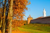 Veliky Novgorod, Russia. Fedor Tower And Clock Tower Of Veliky Novgorod Kremlin At Autumn Sunny Day. poster