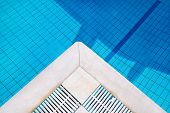 Part Of Pool And Water. Bottom Of The Pool, Background, Texture, Material. Detail Of Swimming Pool I poster