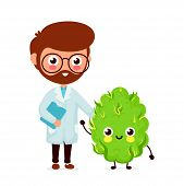 Cute Funny Smiling Doctor And Happy Medical Cannabis Bud.healthcare Weed Help. Vector Flat Cartoon C poster