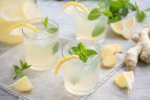 Lemonade with ginger and mint. Summer ginger lemonade with mint. Refreshing summer lemonade. Summer  poster