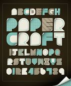 stock photo of paper craft  - vector of vintage paper craft alphabets - JPG