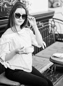 Breakfast Time In Cafe. Girl Enjoy Morning Coffee. Woman In Sunglasses Drink Coffee Outdoors. Girl R poster