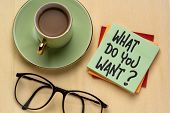 What do you want? Handwriting on a note with a cup of coffee. Personal development, aspiration and c poster