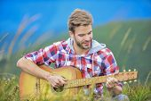 Hiking Song. Man Musician With Guitar On Top Mountain. Inspired Musician. Hipster Musician. Inspirin poster