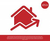Red Rising Cost Of Housing Icon Isolated On White Background. Rising Price Of Real Estate. Residenti poster