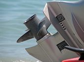pic of outboard  - Orange boat engine - JPG