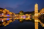 Chinese tourist attraction destination - Feng Huang Ancient Town (Phoenix Ancient Town) on Tuo Jiang poster