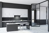 Dark Gray Kitchen With Bar And Doors poster
